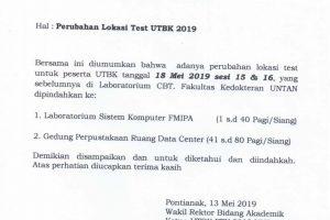 Perubahan Lokasi Test UTBK 2019