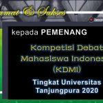 pemenang Kompetisi Debat Mahasiswa Indonesia (KDMI) tingkat Universitas Tanjungpura 2020.